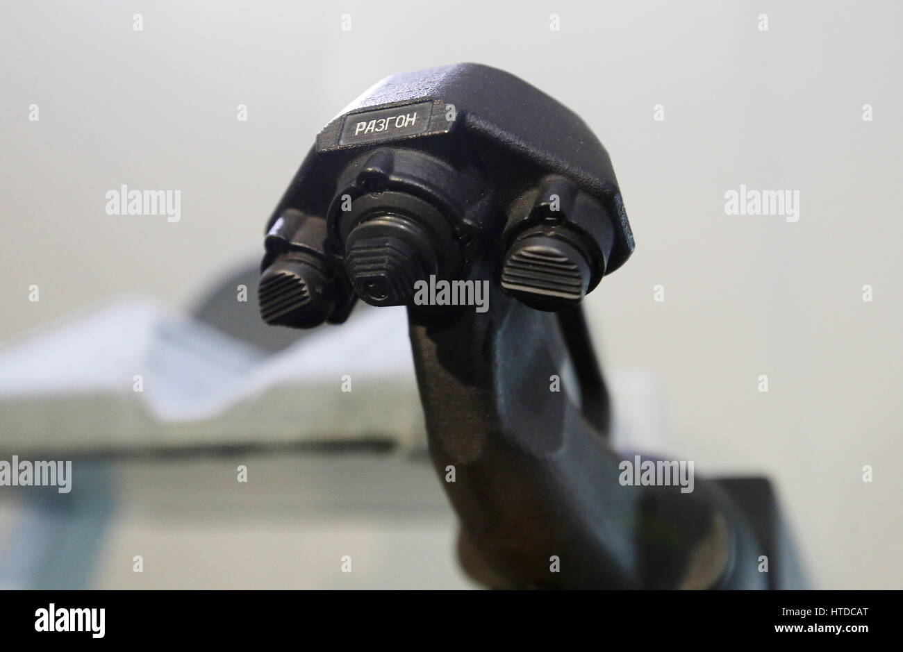 Moscow Region, Russia. 10th Mar, 2017. A joystick inside a mock-up of the next-generation manned spacecraft Federation - Stock Image