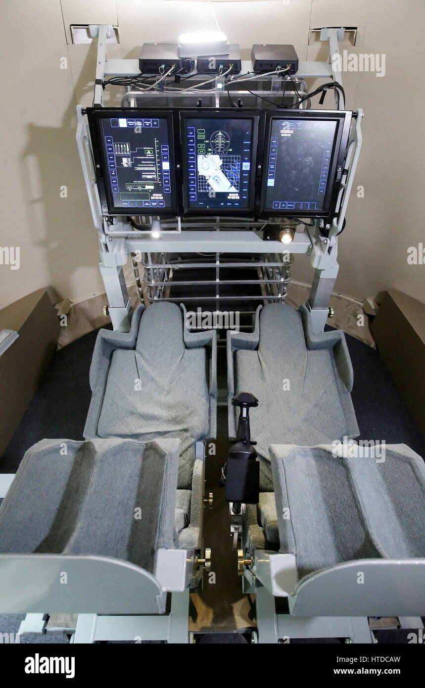 Moscow Region, Russia. 10th Mar, 2017. The interior of a mock-up of the next-generation manned spacecraft Federation - Stock Image