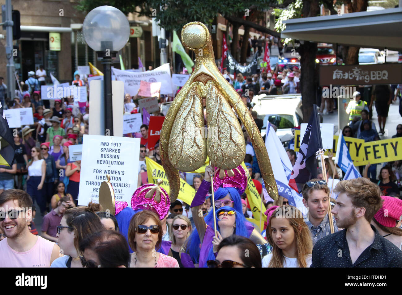 Sydney, Australia. 11th Mar, 2017. Unions NSW organised the 2017 Sydney International Women's Day March and - Stock Image