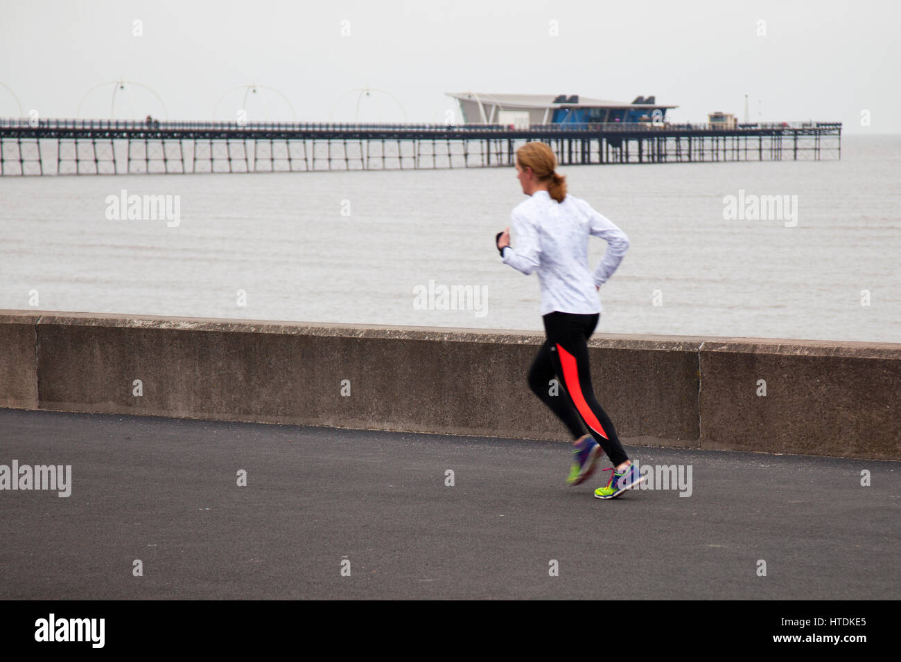 Southport, Merseyside, UK.  UK Weather.  11th March, 2017. Grey foggy and damp start to the day in the resort at - Stock Image
