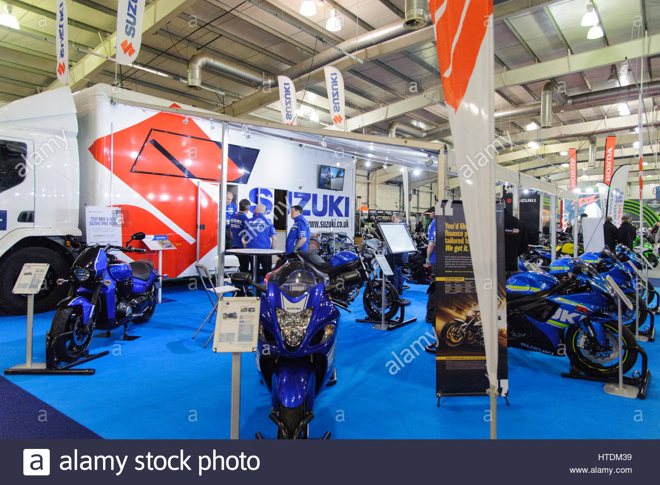Edinburgh, UK. 11 March, 2017. Suzuki Motorcycles stand at the Carole Nash MCN Scottish Motorcycle Show. Roger Gaisford/Alamy - Stock Image