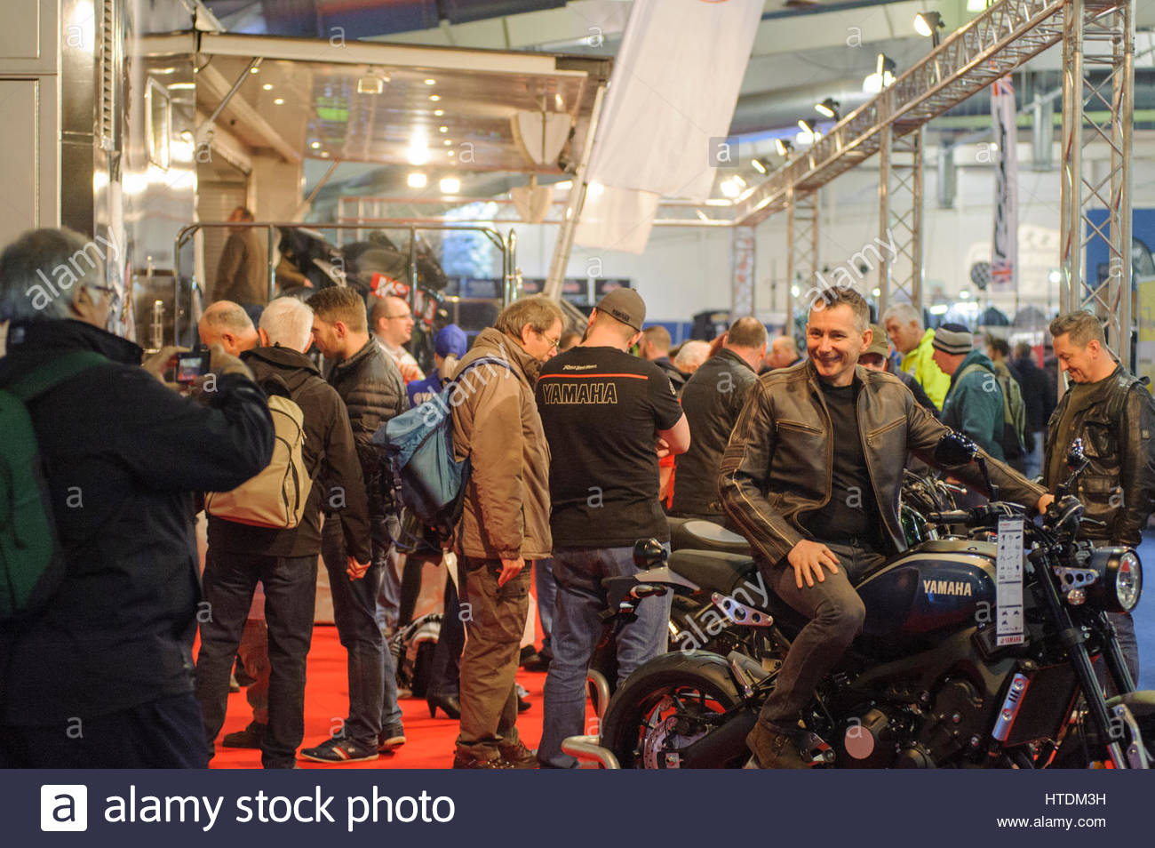 Edinburgh, UK. 11 March, 2017. People trying some Yamaha bike for size at the Carole Nash MCN Scottish Motorcycle - Stock Image