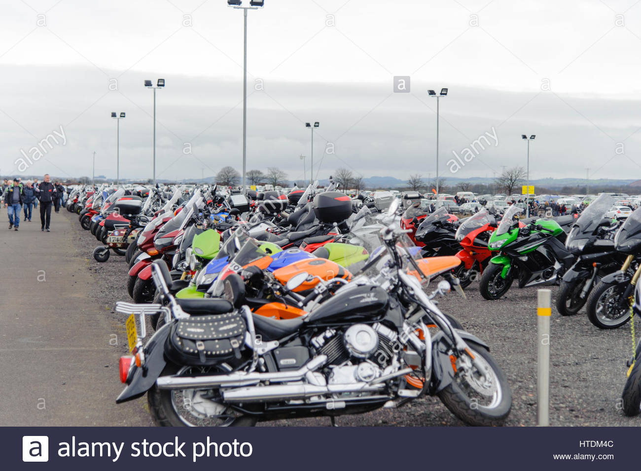Edinburgh, UK. 11 March, 2017. Some of the thousands of visitors motorcycles at the Carole Nash MCN Scottish Motorcycle - Stock Image