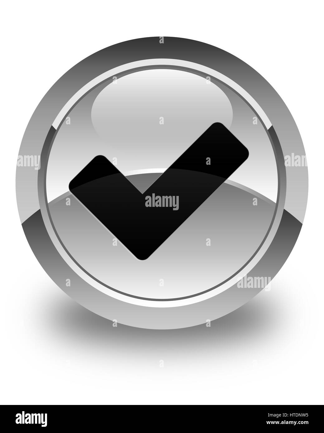Validate icon isolated on glossy white round button abstract illustration Stock Photo