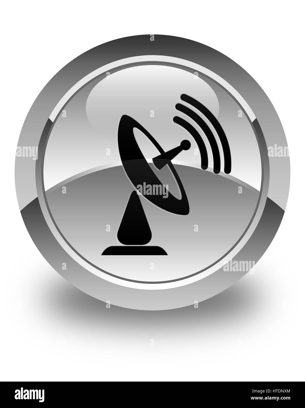 Satellite dish icon isolated on glossy white round button abstract illustration - Stock Image