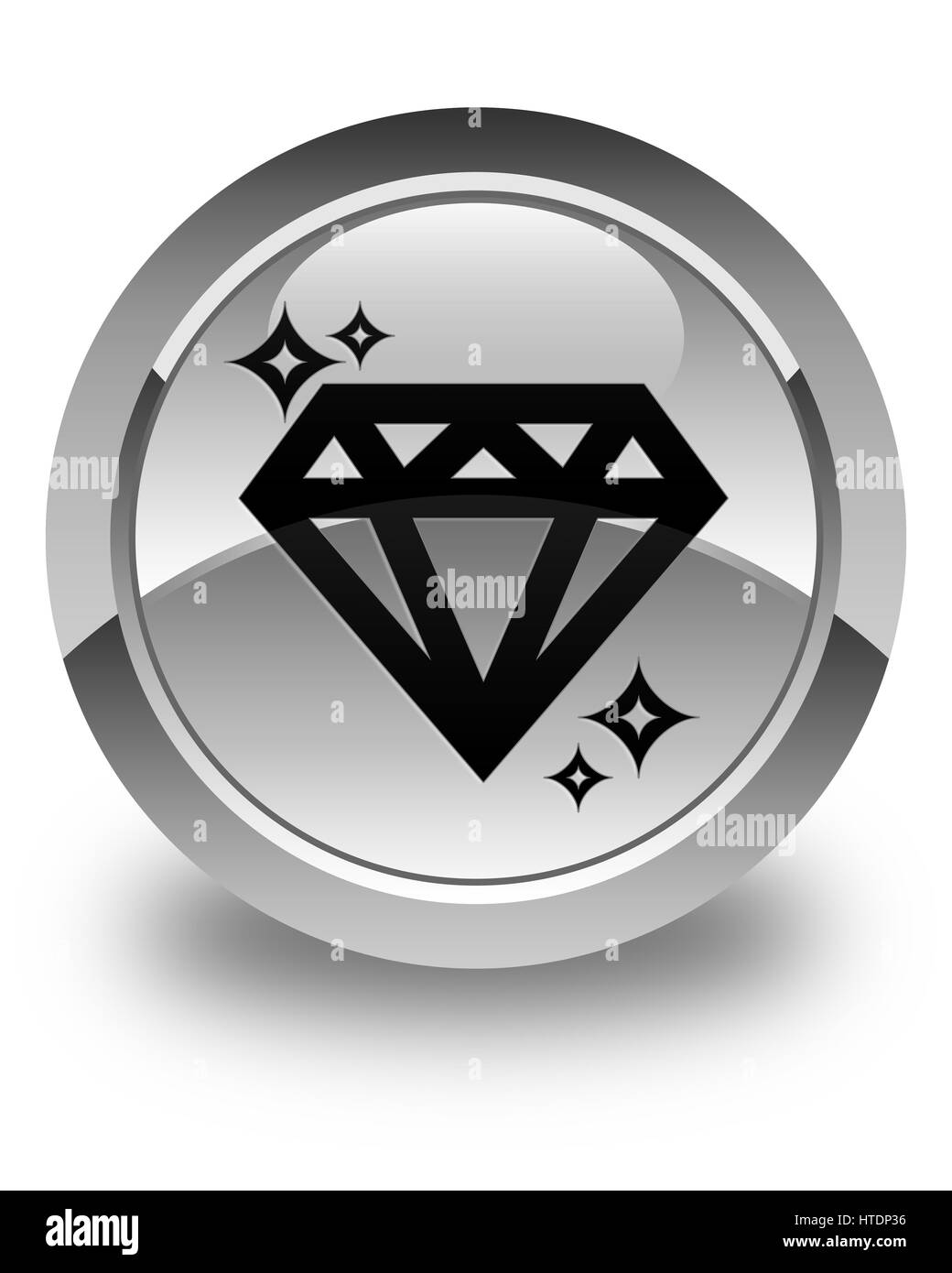 Diamond icon isolated on glossy white round button abstract illustration - Stock Image