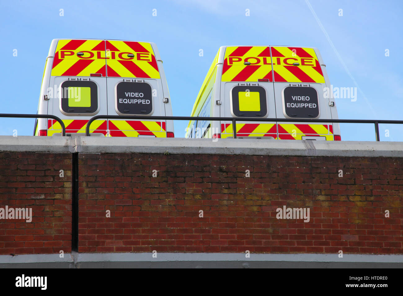 parked police emergency service vehicle in rooftop carpark lincoln Stock Photo