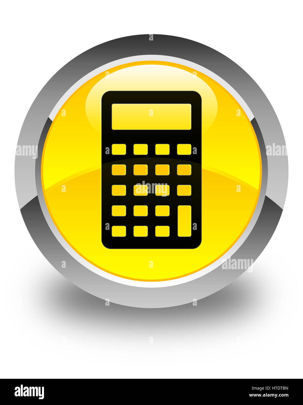 Calculator icon isolated on glossy yellow round button abstract illustration Stock Photo