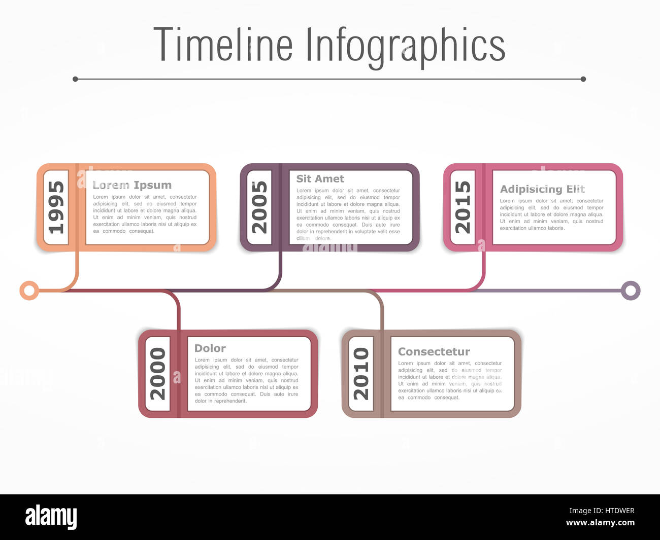 horizontal timeline infographics template with dates and place for