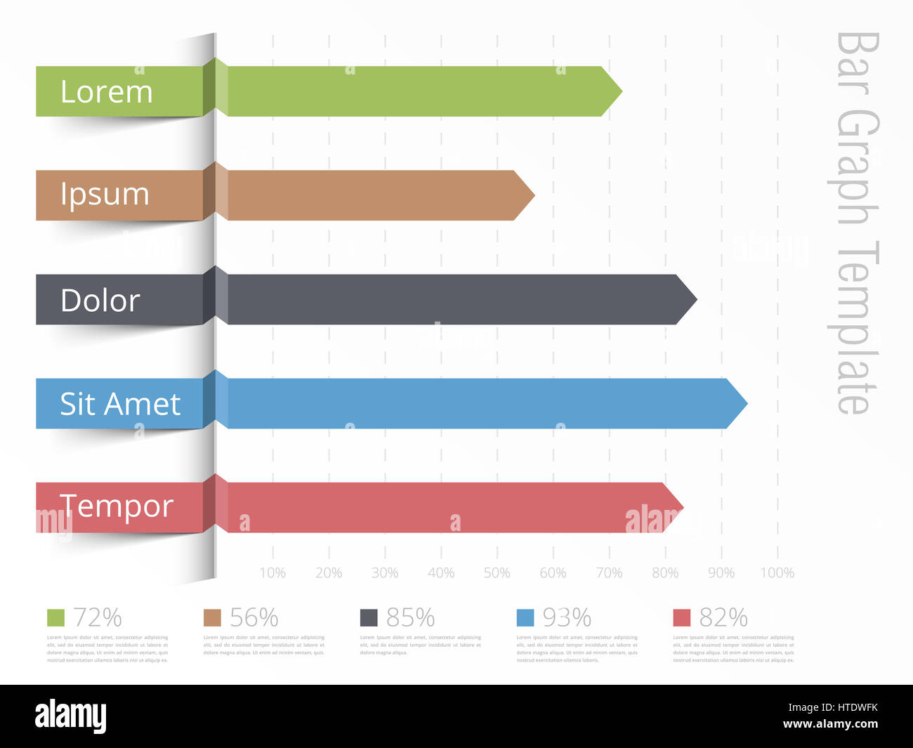bar graph template, horizontal bars showing different value of stock