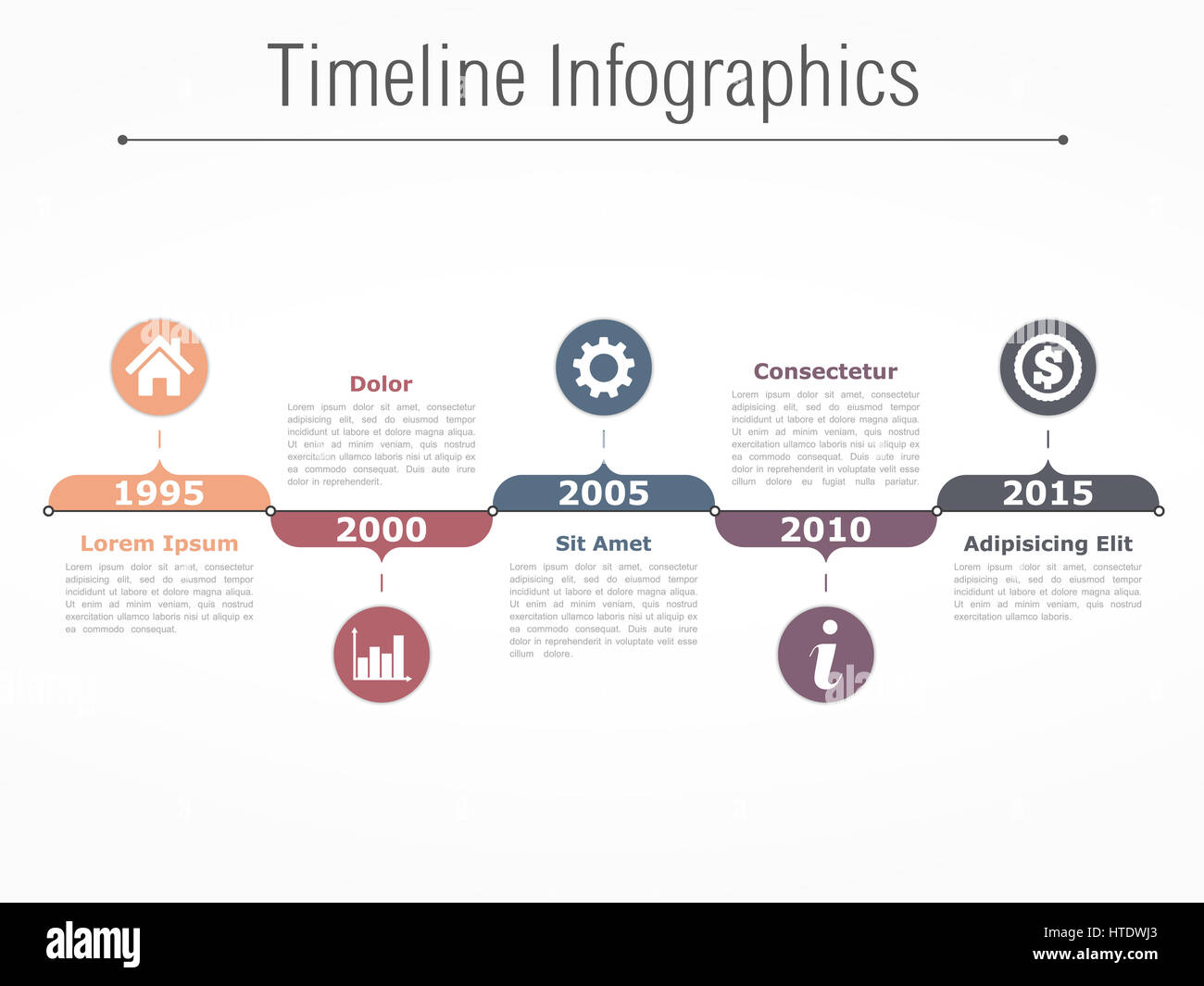 horizontal timeline infographics design template stock photo