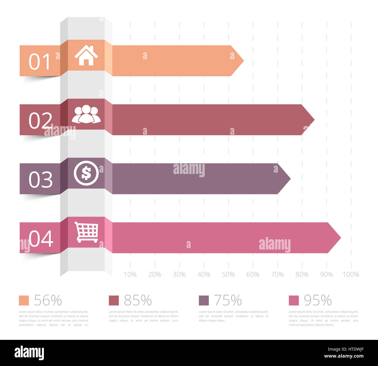 Horizontal bar chart with numbers and icons, business