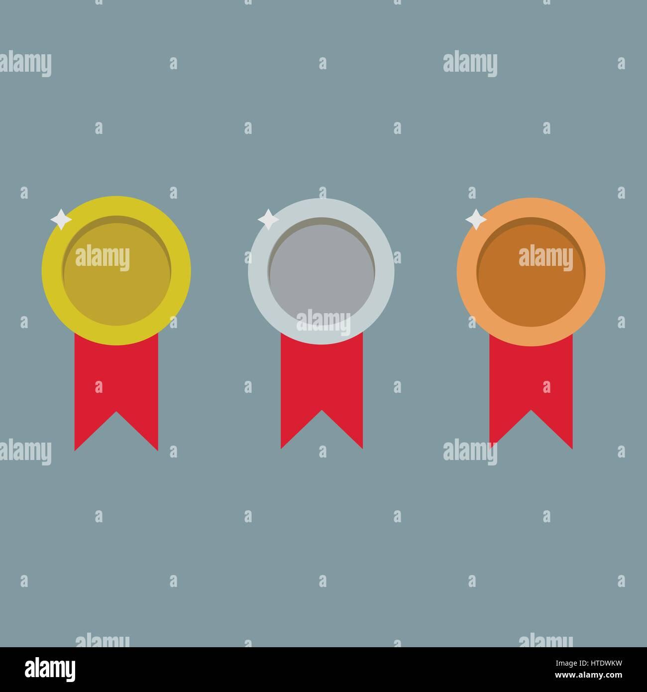 Medals logo illustration - Stock Image