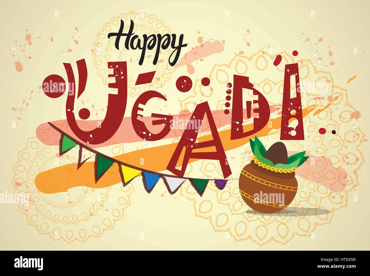 Happy ugadi and gudi padwa hindu new year greeting card holiday pot happy ugadi and gudi padwa hindu new year greeting card holiday pot with coconut m4hsunfo