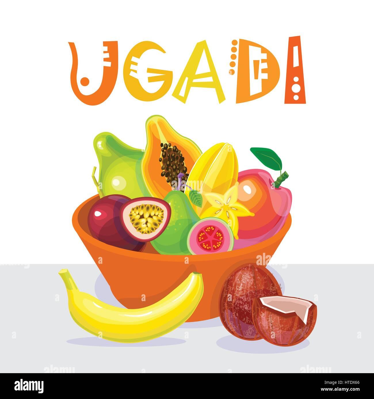Happy Ugadi And Gudi Padwa Hindu New Year Greeting Card Holiday