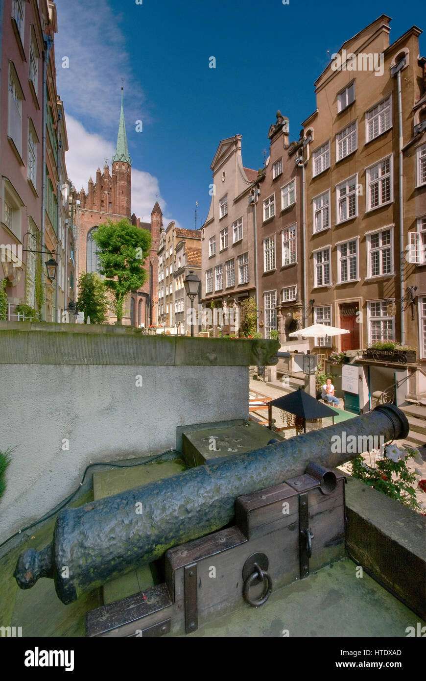 Cannon at terrace at ulica Mariacka (St Mary Street) in Gdansk, Pomerania, Poland - Stock Image