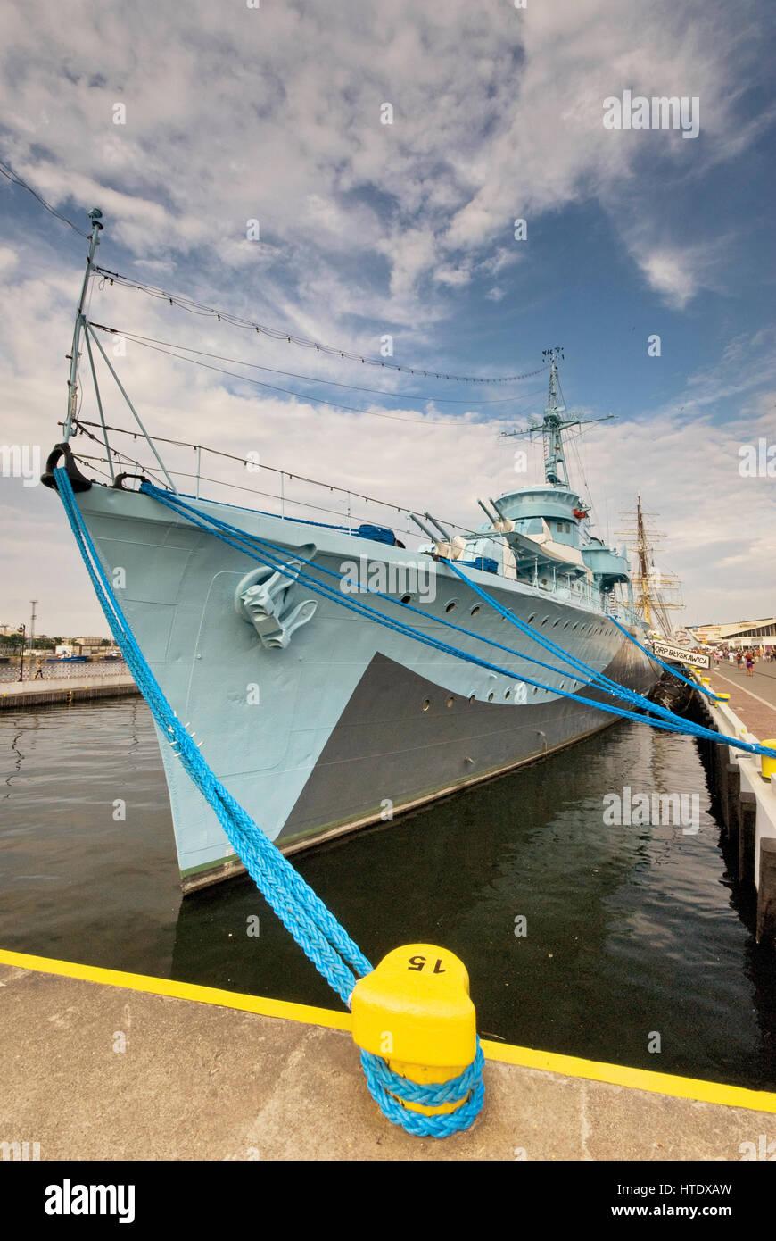 ORP Blyskawica WW2 museum warship at waterfront in Gdynia, Pomerania, Poland - Stock Image
