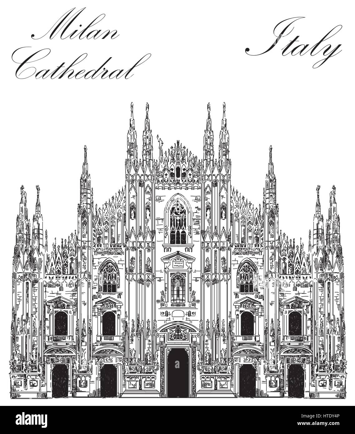 Famous Milan Cathedral in black color on piazza in Milan, Italy. Graphic hand drawing illustration. Vector isolated - Stock Vector
