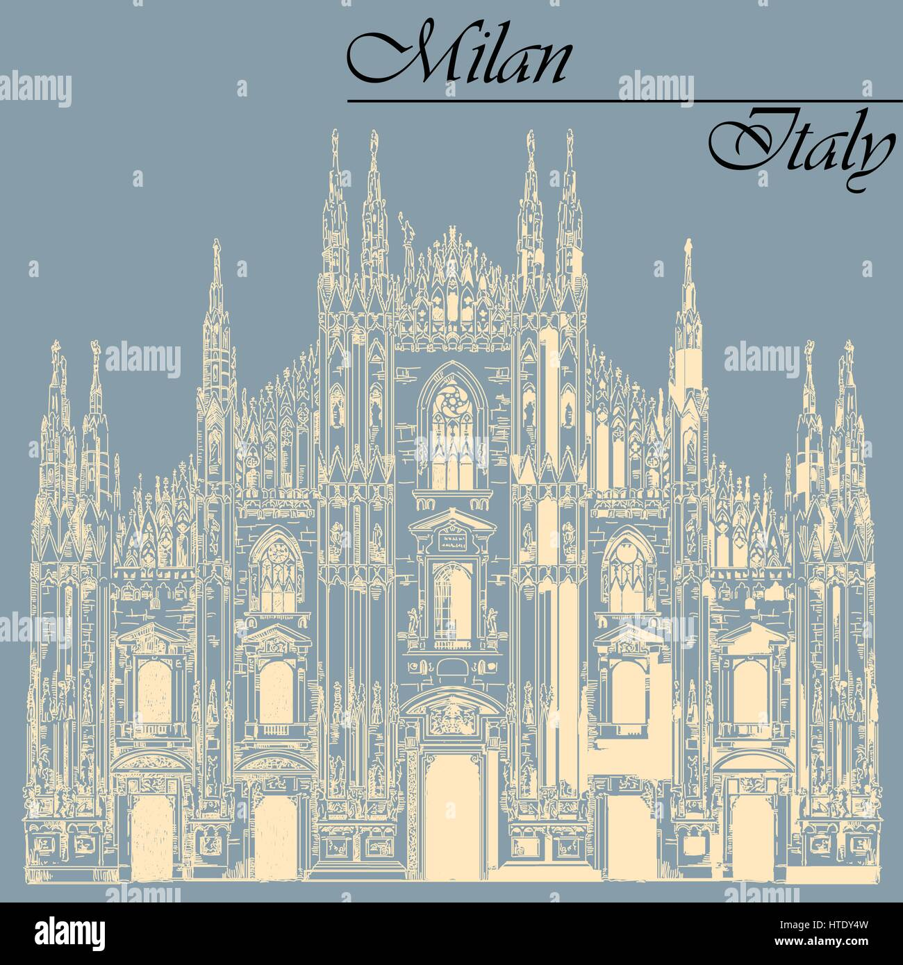 Famous Milan Cathedral ivory color on piazza in Milan, Italy. Graphic hand drawing illustration. Vector isolated - Stock Vector