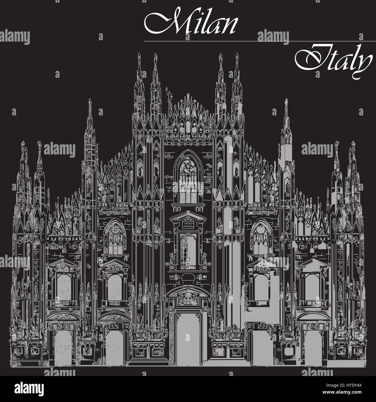 Famous Milan Cathedral on piazza in Milan, Italy. Graphic hand drawing illustration. Vector isolated on a black - Stock Vector