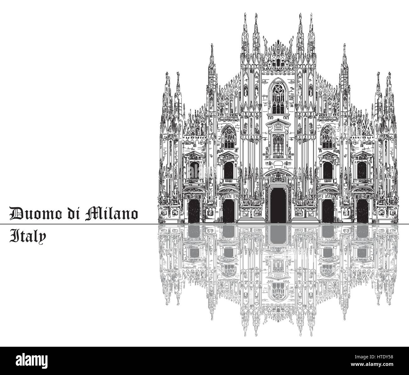 Famous Milan Cathedral with shadow on piazza in Milan, Italy. Graphic hand drawing illustration. Vector isolated - Stock Vector