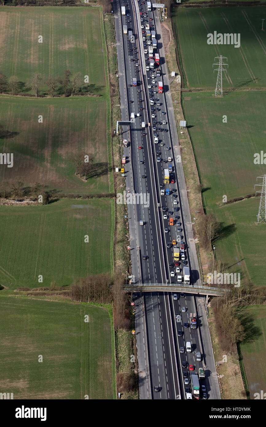 aerial view of heavy traffic on the M6 in Cheshire, UK Stock Photo