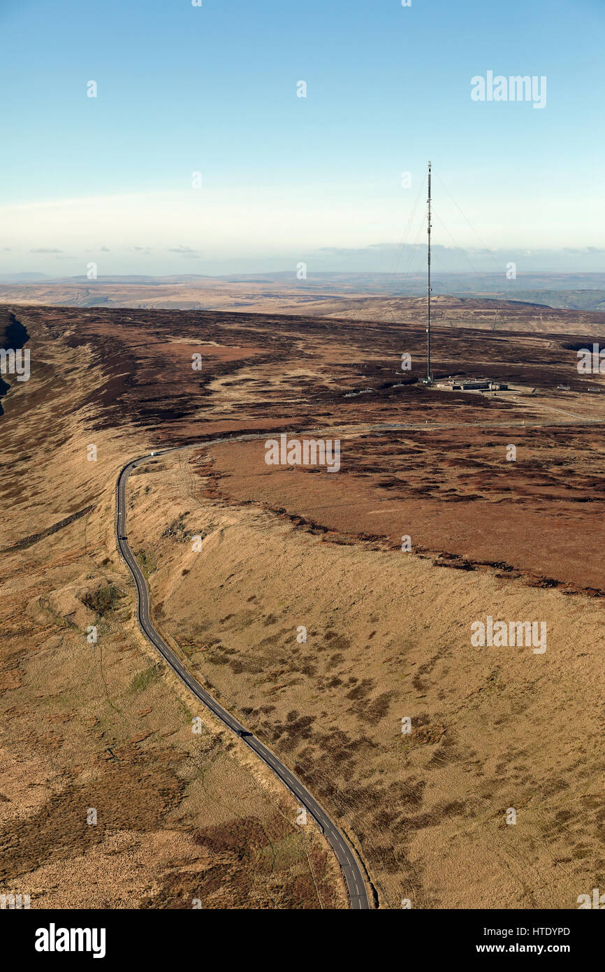 aerial view of Holme Moss TV transmitter - Stock Image