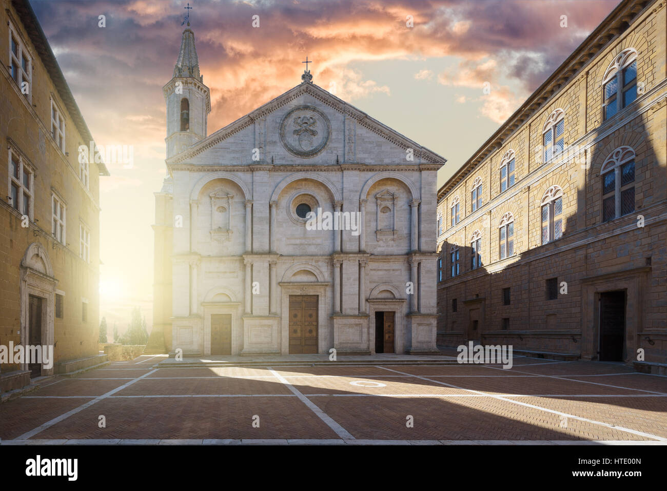 Famous square in front of Duomo in Pienza, ideal Tuscan town, Italy. - Stock Image