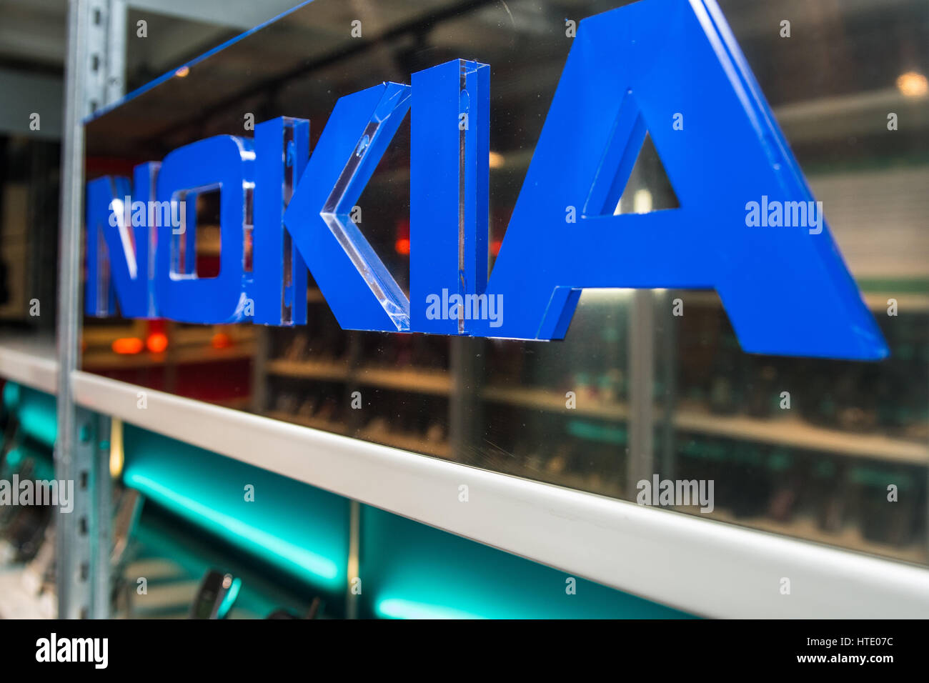 Salo, Finland, 08.03.2017. View of the Elektroniikka Museum collection of Nokia product. Stock Photo
