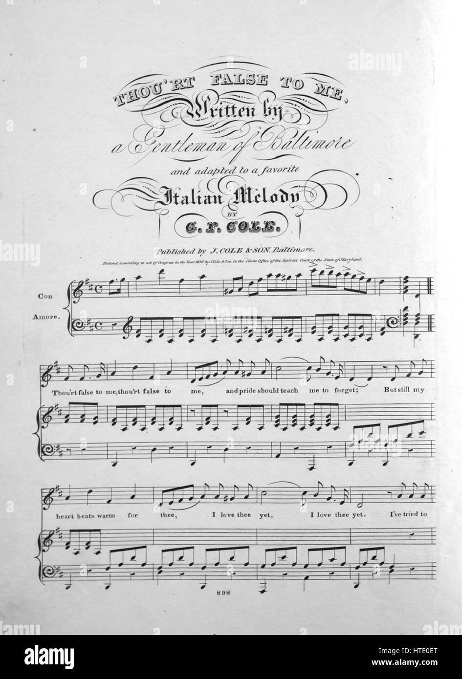 Sheet Music Cover Image Of The Song Thourt False To Me With