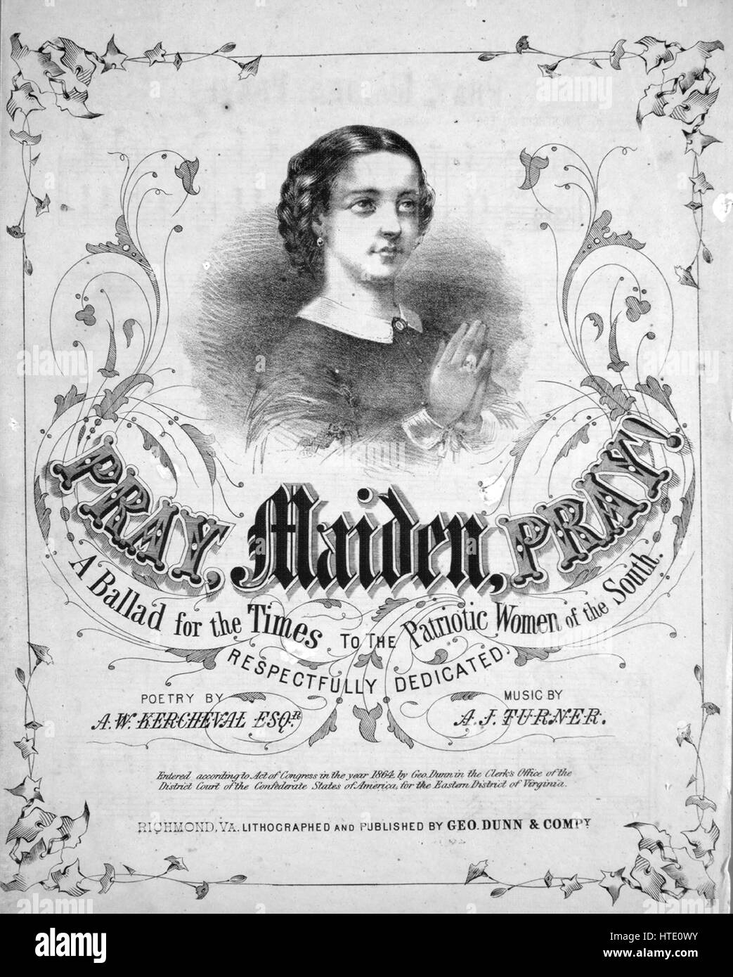 Sheet music cover image of the song 'Pray, Maiden, Pray! A Ballad for the Times', with original authorship - Stock Image