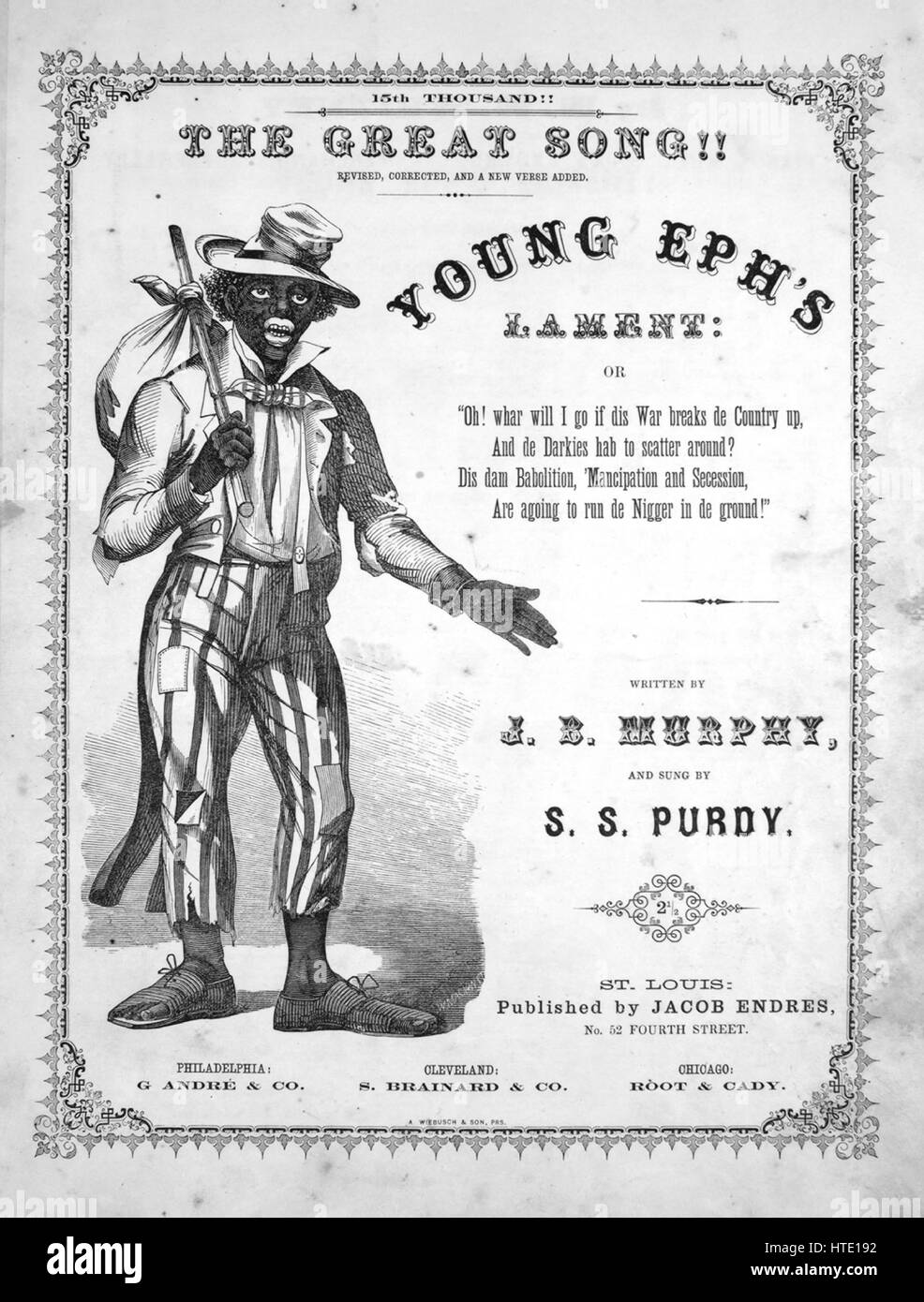 Sheet music cover image of the song 'Young Eph's Lament, or, Oh, Whar Will I Go if Dis War Breaks de Country - Stock Image