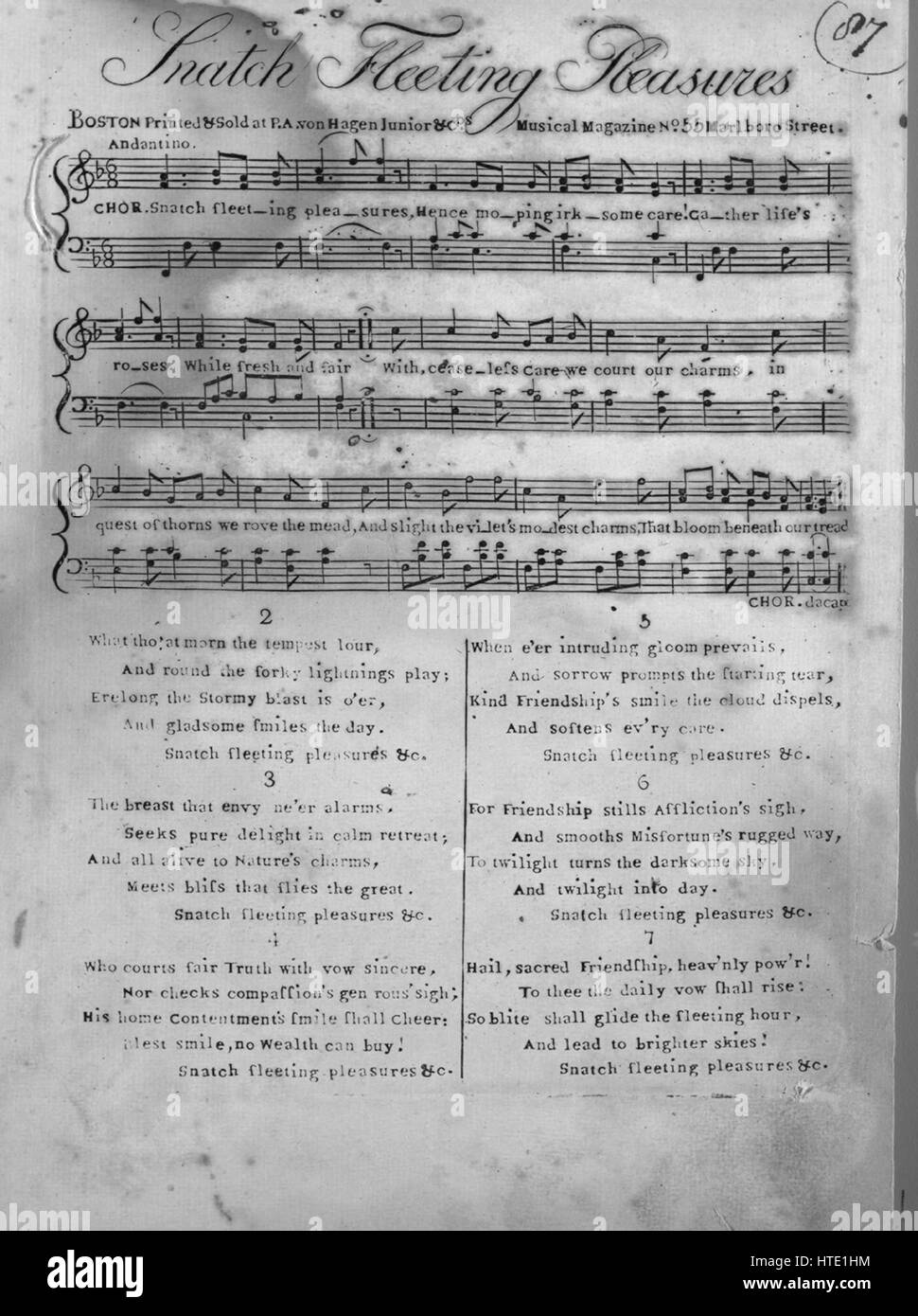 Sheet music cover image of the song 'Snatch Fleeting Pleasures', with original authorship notes reading - Stock Image