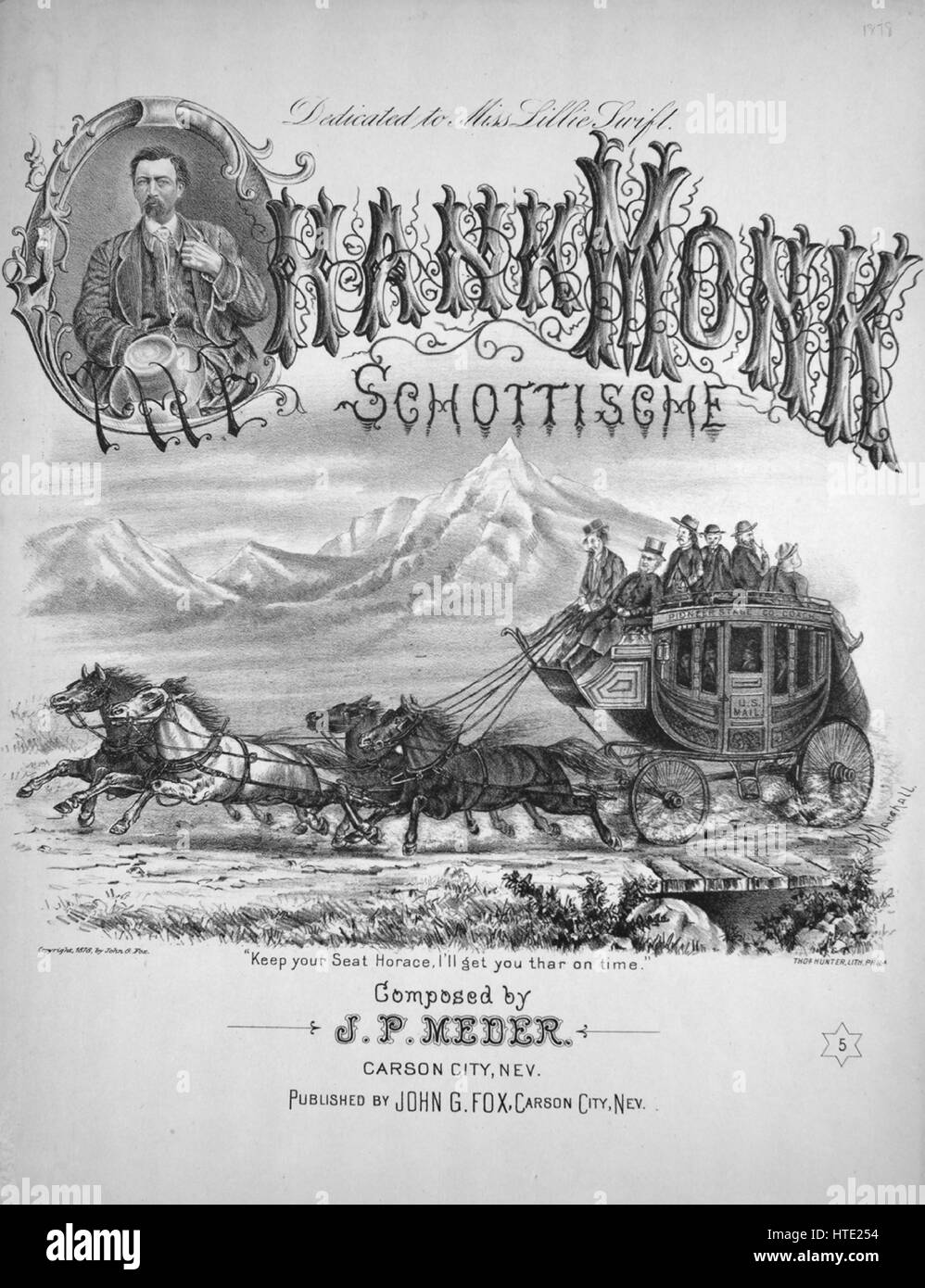 Sheet music cover image of the song 'Hank Monk Schottische', with original authorship notes reading 'Composed - Stock Image