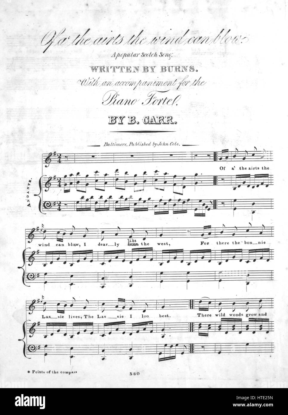 Sheet music cover image of the song 'Of a' the air's the wind can blow', with original authorship - Stock Image