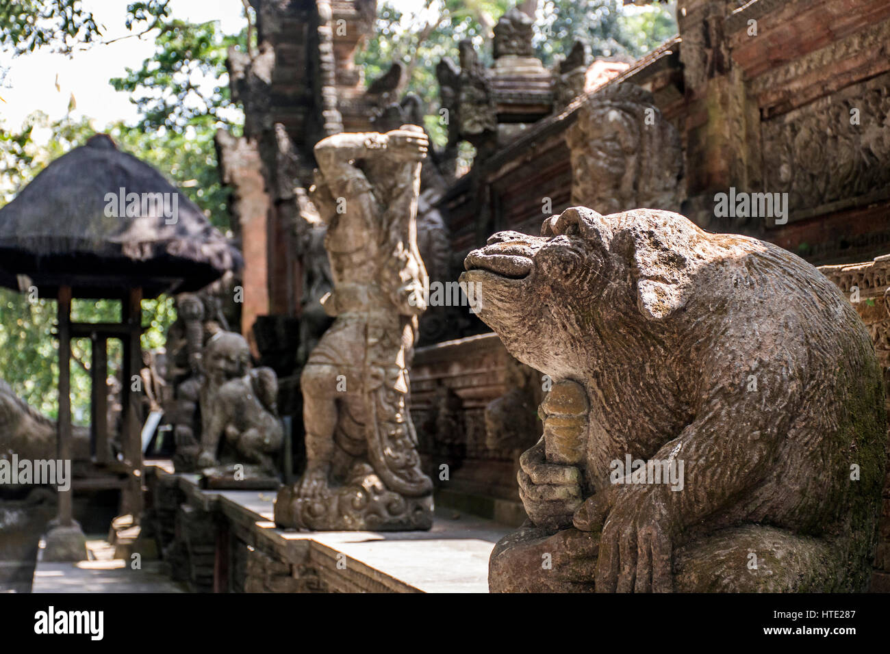 Bali Indonesia Ubud famous Monkey Forest Temple sculpture monkey genitals - Stock Image