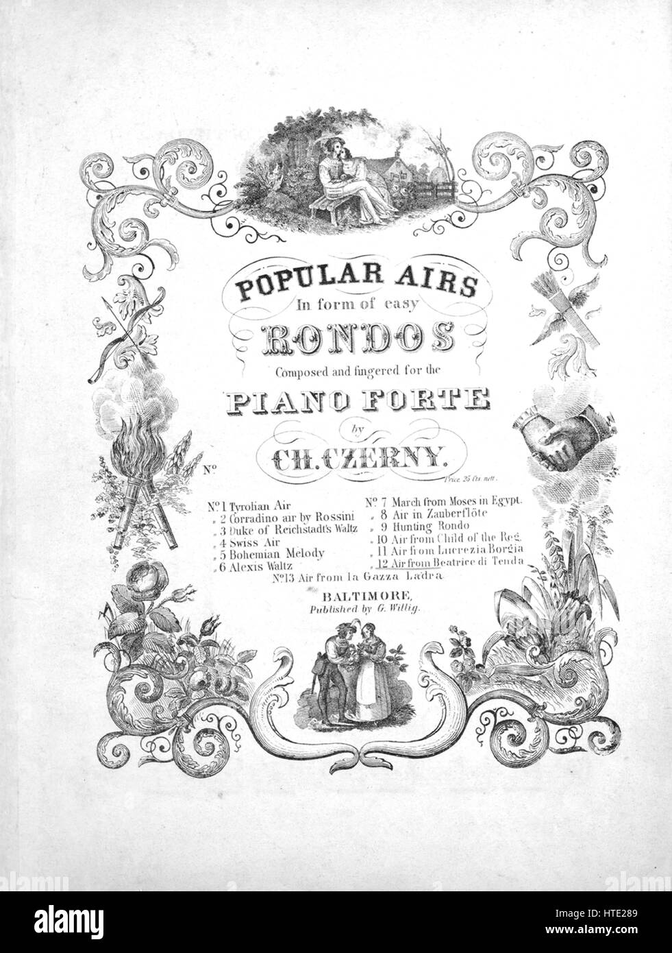 Sheet music cover image of the song 'Popular Airs In form of easy Rondos Air from Beatrice di Tenda', with - Stock Image
