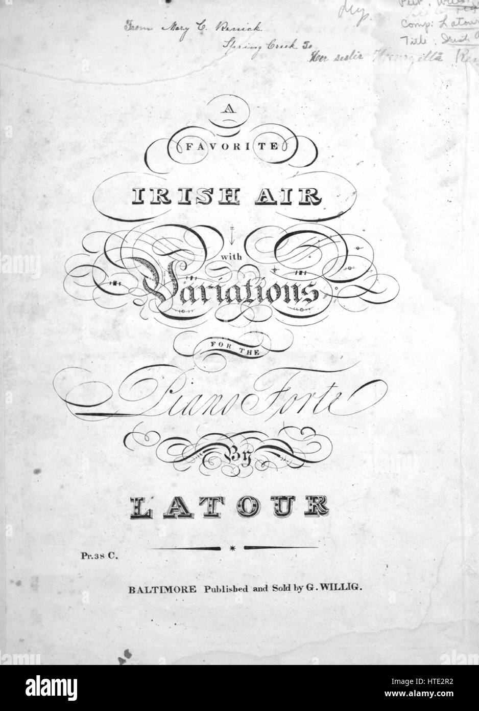 Sheet music cover image of the song 'A Favorite Irish Air With Stock