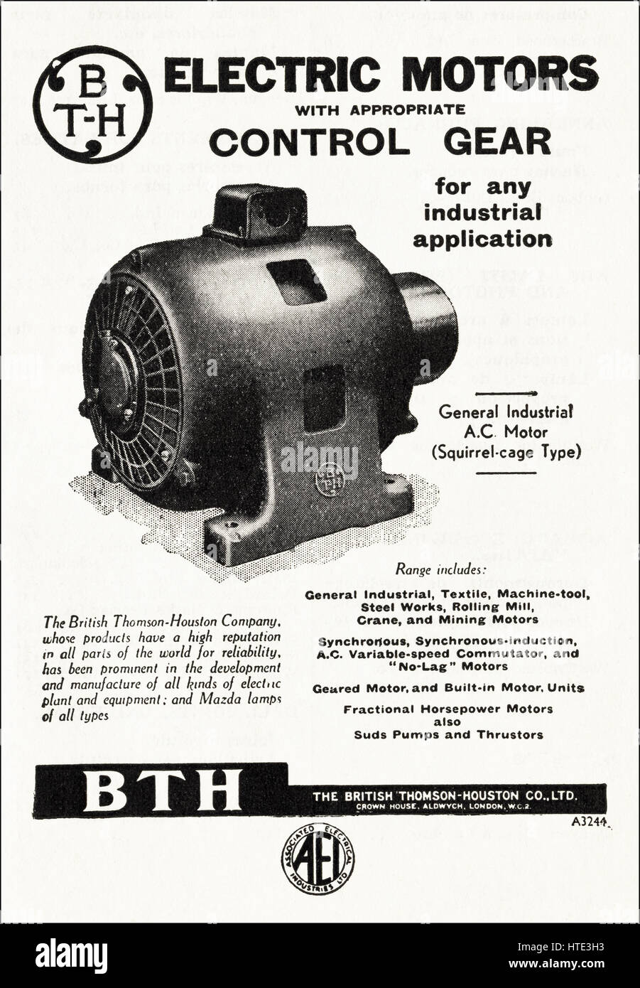 1940s old original vintage industrial advertisement dated 1943 advertising electric motors by BTH The British Thomson - Stock Image