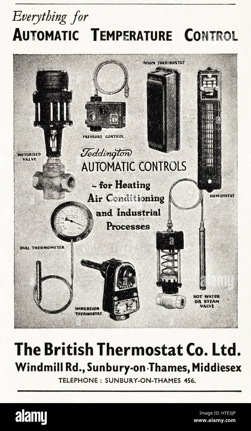 1940s old original vintage industrial retro advertisement dated 1943 advertising temperature control for industry - Stock Image