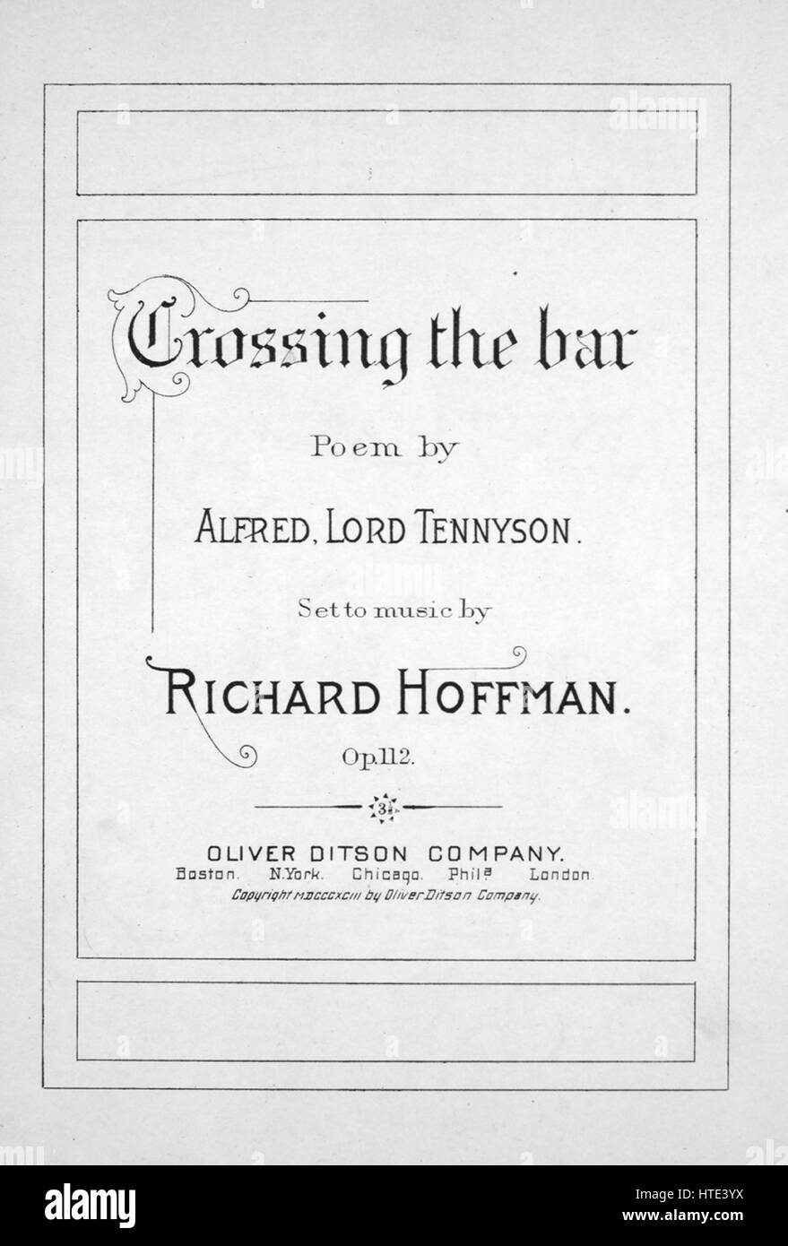 Sheet music cover image of the song 'Crossing the Bar', with original authorship notes reading 'Poem - Stock Image