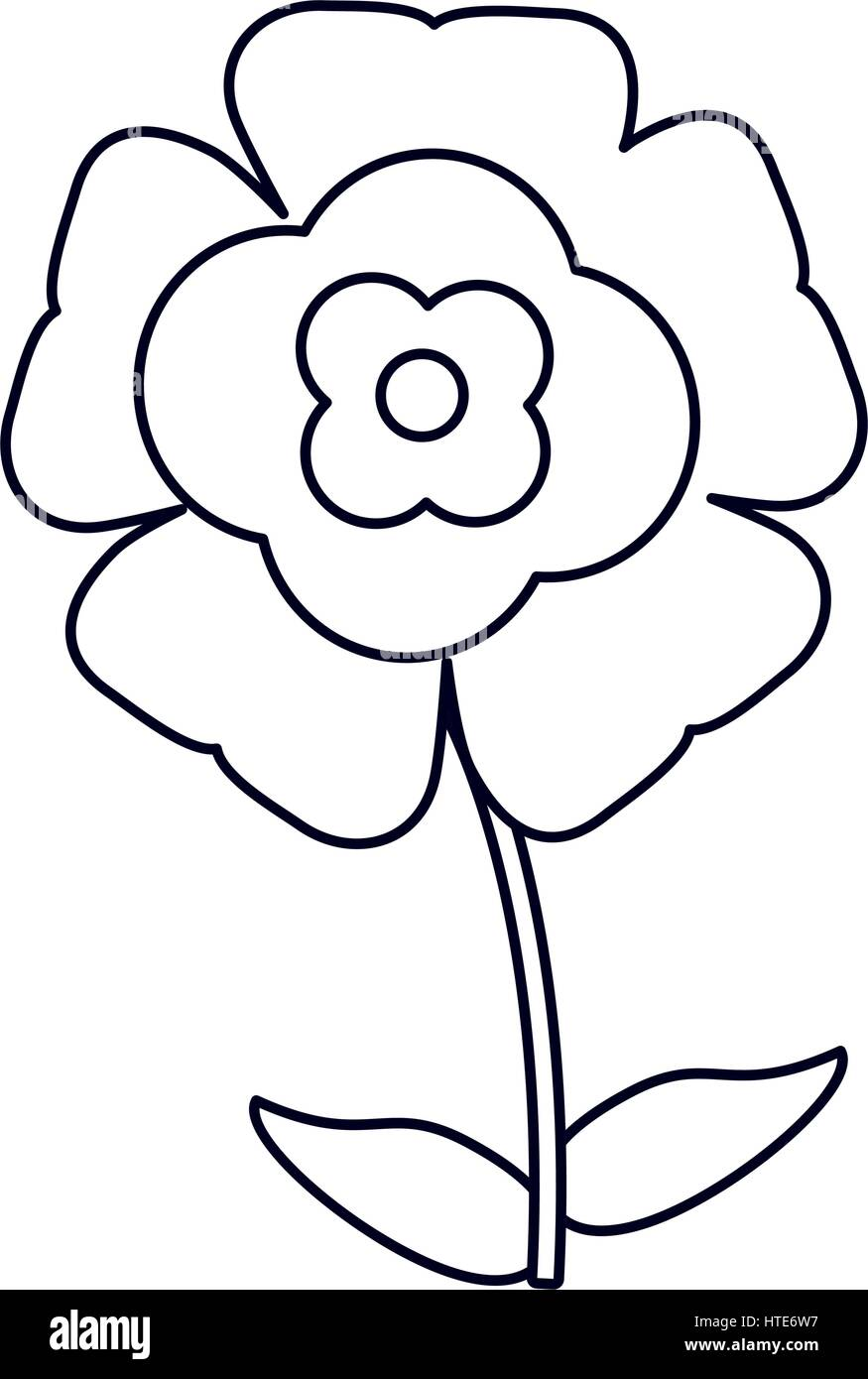 flower flourish natural outline - Stock Image