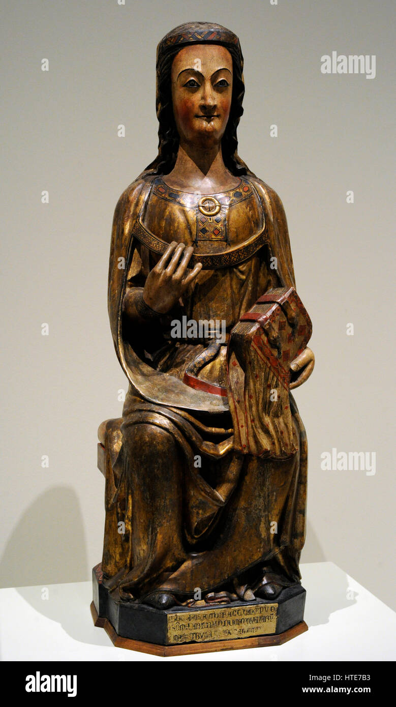 Saint. Ca.1300. Group of Saint-Bertrand-de-Comminges, France. Gothic style. Polychrome birch wood with gold leaf. - Stock Image