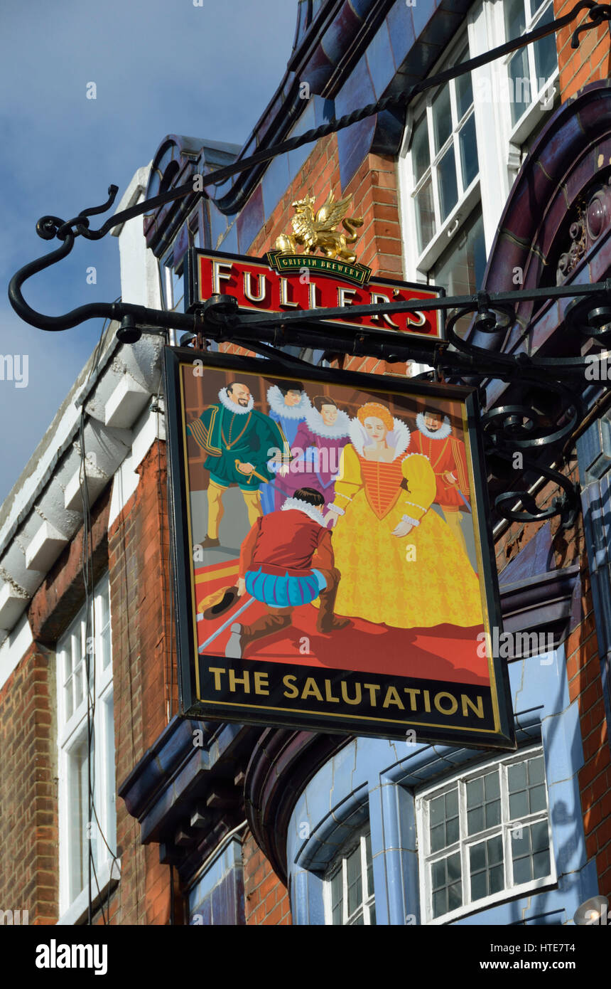 The Salutation pub in King St, Hammersmith, London, UK. - Stock Image