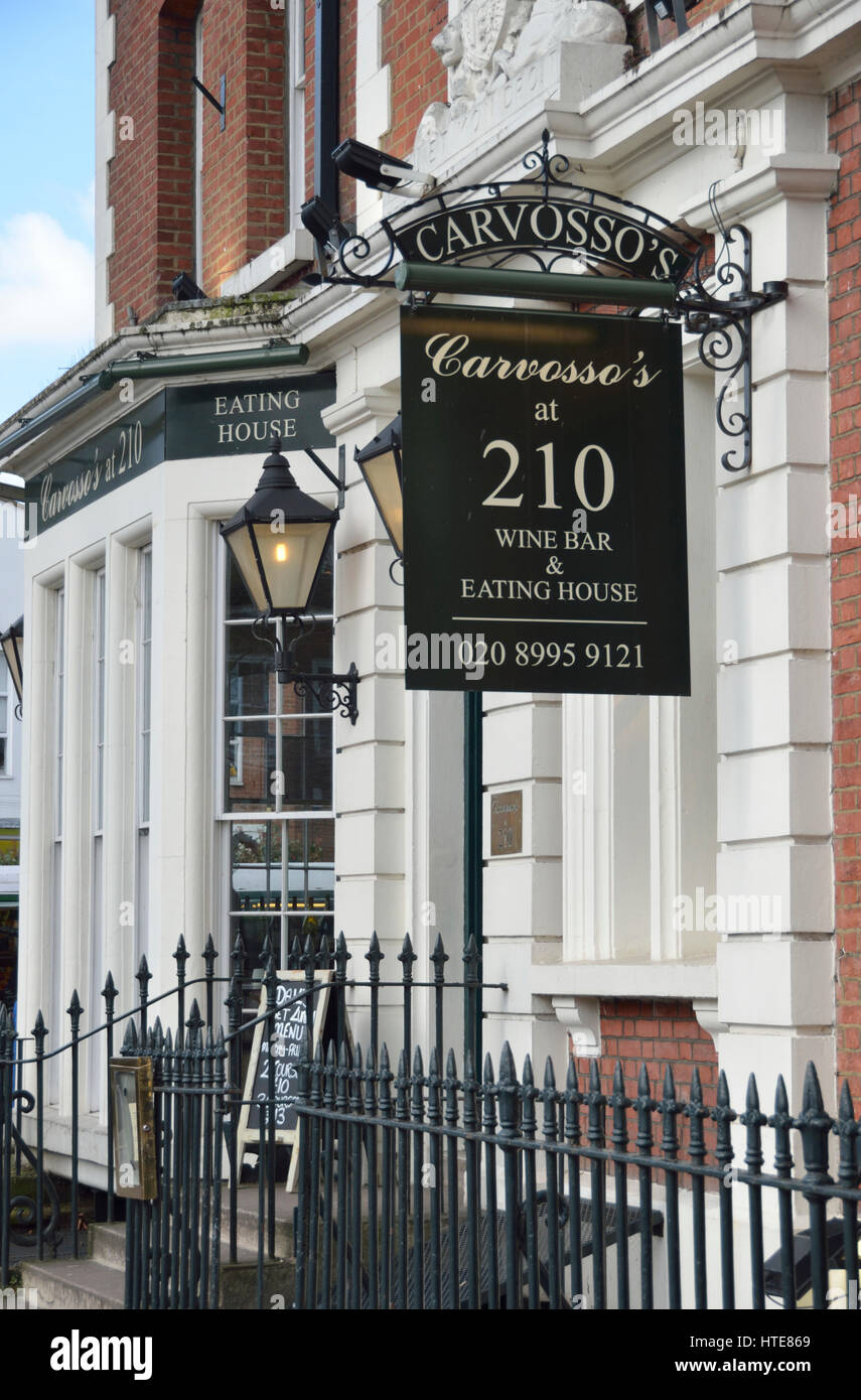 Carvosso's At 210 wine bar and restaurant, Chiswick, London, UK. - Stock Image