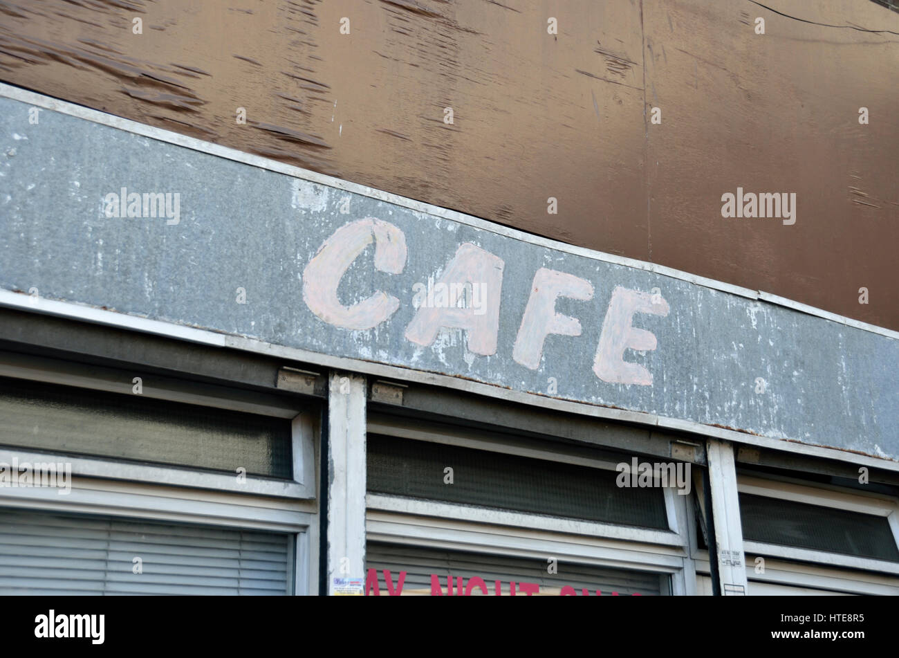 Neglected dilapidated cafe exterior. - Stock Image