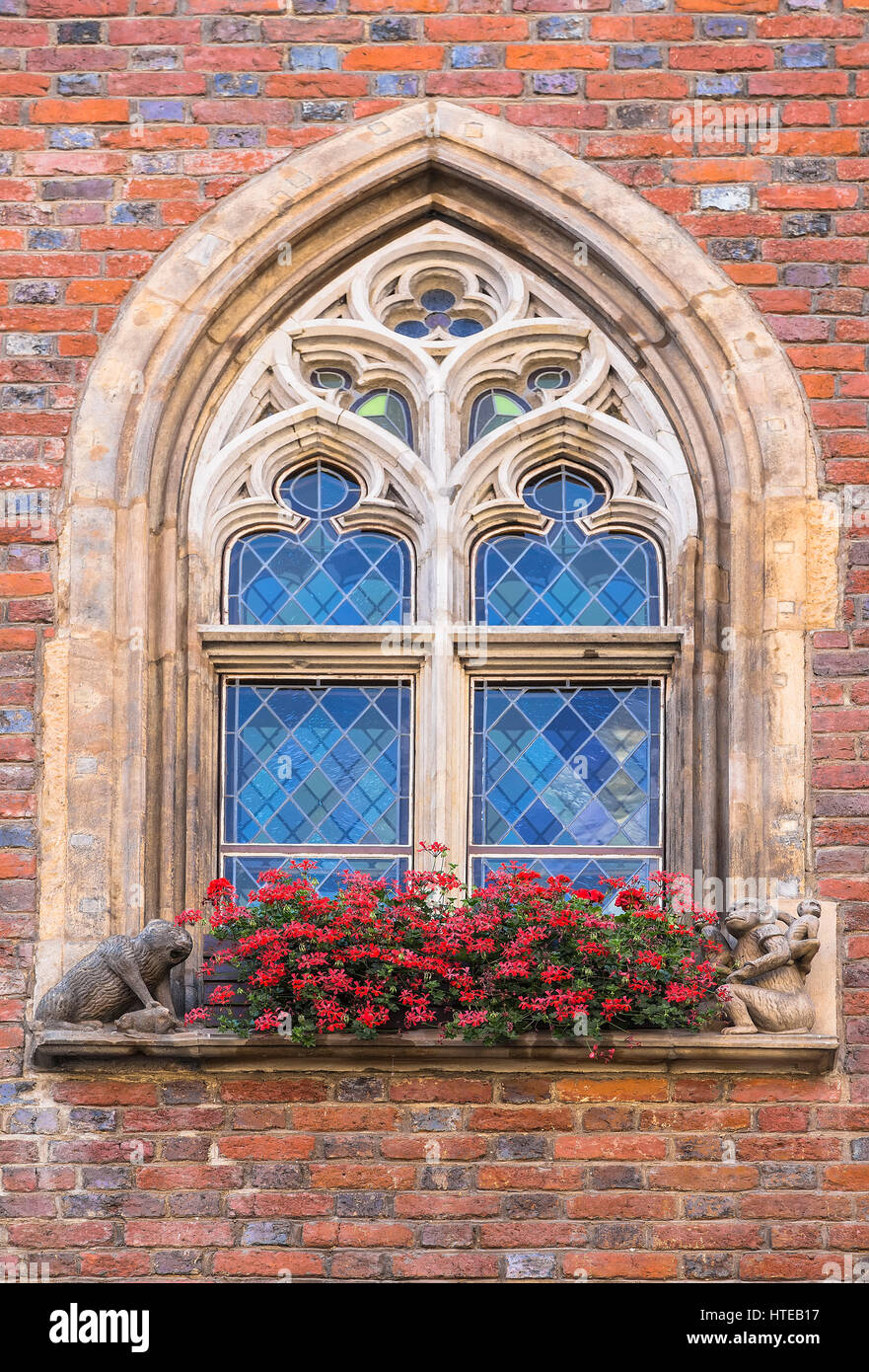 Window historic town hall with small sculptures. Wroclaw. Poland Stock Photo