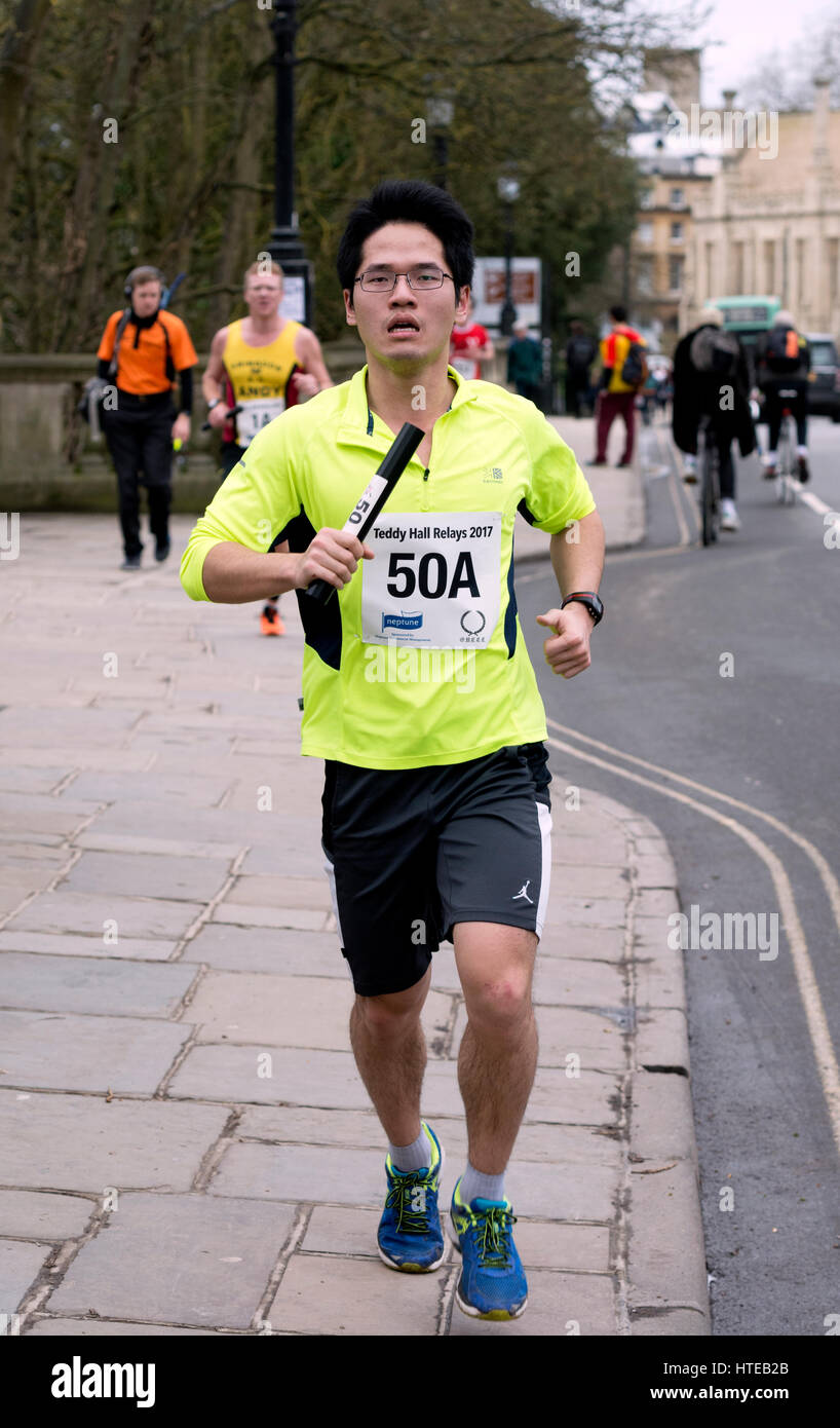 A runner in the Teddy Hall Relays, Oxford, UK - Stock Image
