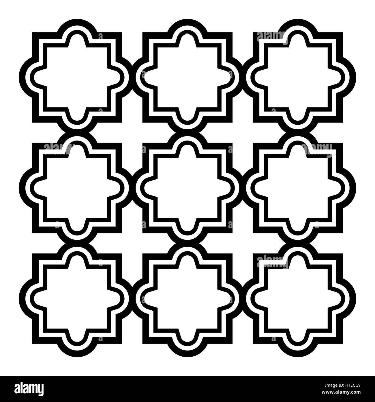 Arabic Seamless Pattern Set Islamic Design Black And White Stock