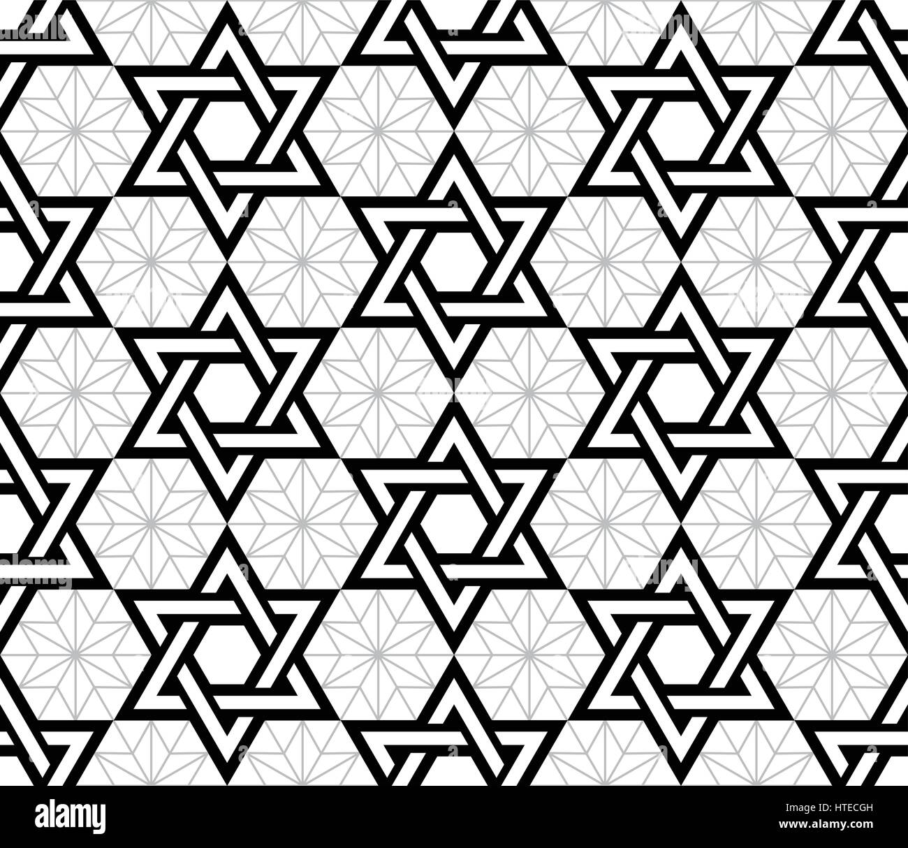 Jewish, Star of David black seamless pattern - Stock Vector
